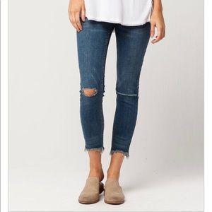 Free People Frayed Hem Skinny Jeans