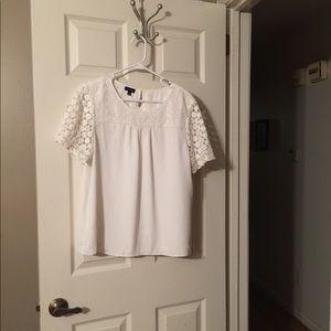 Talbots White Lace and Crepe Shirt Size Large