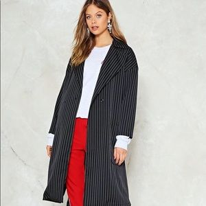 Blue pinstripe trench