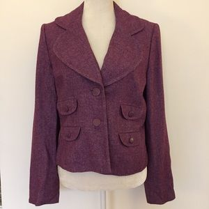 Ann Taylor purple wool pocket Button blazer jacket