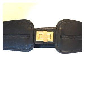 Forever21 black leather stretch belt. S/M. NWOT.