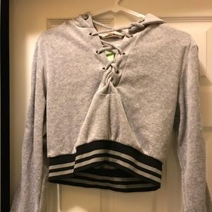 Forever 21 Grey Velvet Lace Up Crop Sweater