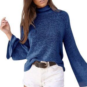 🆕 Sheer Blue Bell Long Sleeve Tie Back Sweater