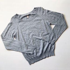 Banana Republic Gray Swiss Dot Sweater