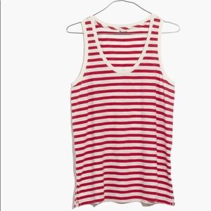 NEW Madewell size medium tank top red white stripe