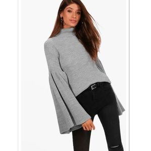 NWT Turtleneck Ribbed Wide Bell Sleeves Sweater