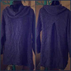 L, D&Co, cowl neck, tunic-length, sweater