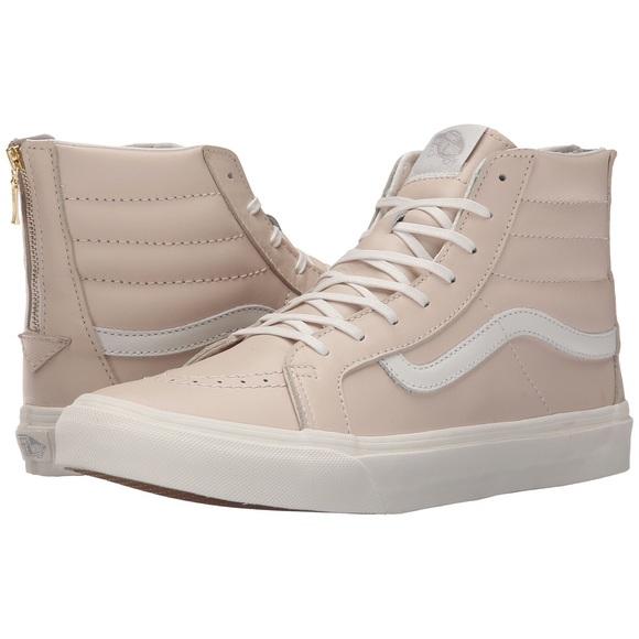 VANs NWB SK8-Hi Slim Light Pink Leather Hi-Tops fddbf5016ec0