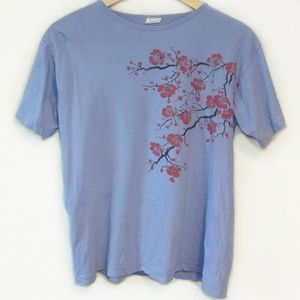 Vintage Floral Red Cherry Blossom Flower Top Shirt