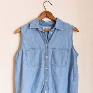 Madewell button-down jean short sleeve top