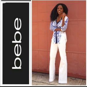 BEBE white wide leg trousers