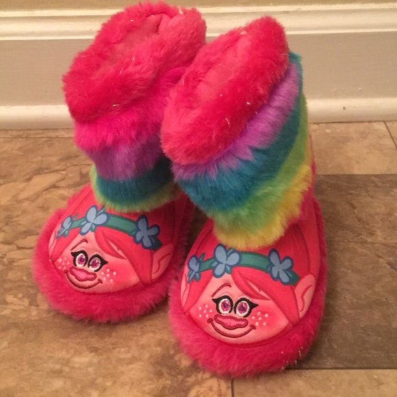 ce1d84cdd trolls Shoes | Kids Girls Rainbow Fuzzy Warm Troll Slipper Boots ...