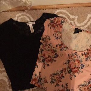 Flowery and Black Lace Crop Top