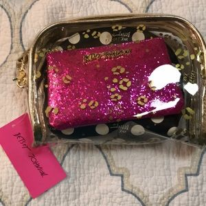 3 Betsey Johnson Cosmetic Case Set/Makeup Bags