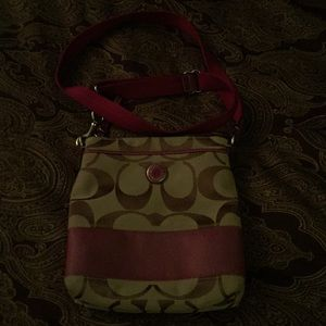 Coach purple and brown small cross body