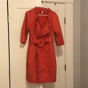 J Crew Wrap Dress- Orange, Size 10