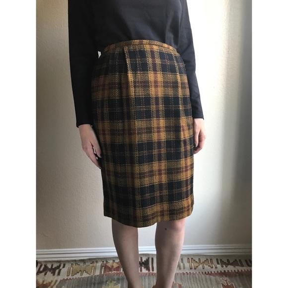 ed65bfedc0b6 Vintage Skirts | Last Chance Plaid Wool Pencil Skirt | Poshmark