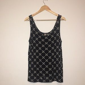 Black and White X Distressed Tank