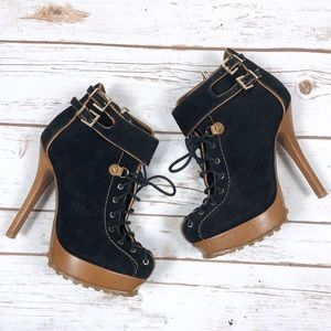 Schutz Black Suede High Heeled Booties