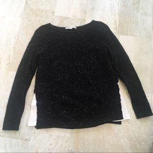 LOFT Speckled Black Sweater with Slits