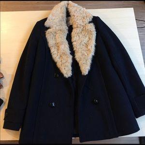Zara Women's Navy Wool Pea Coat w/Removable Fur!