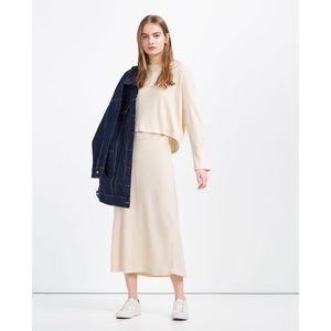 NWT Zara Ribbed Knit Sleeveless Midi Cream Dress