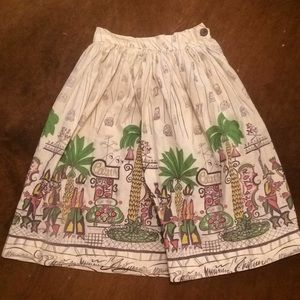 1950s Saul Steinburg print cotton skirt