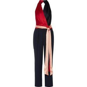 Wrap-effect satin & crepe halterneck jumpsuit