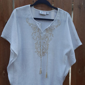 Embroidered Tunic Top Size L