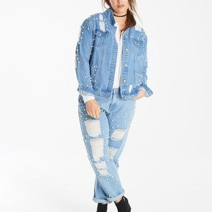 Glamorous Curves Ripped Pearl Jeans Jacket