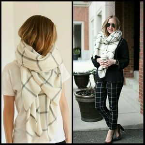 White and gray windowpane blanket scarf