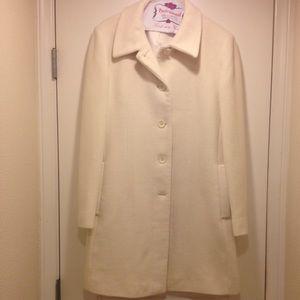 Great Ann Klein cream wool blend winter coat