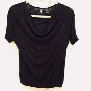 Black cowl neck tee with button sleeves