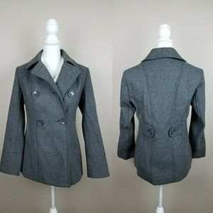 Gray Wool Winter Peacoat Double Button Autumn Coat