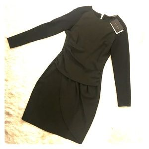 ZARA black and olive fitted dress