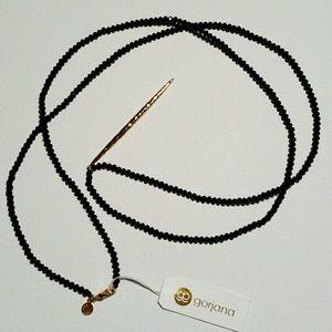 NWT Gorjana Black Beaded Necklace w/Gold Pendant
