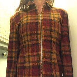 Fall colored 100% wool plaid zip up jacket