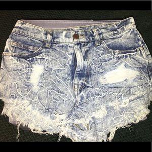 High Rise Acid Wash Shorts