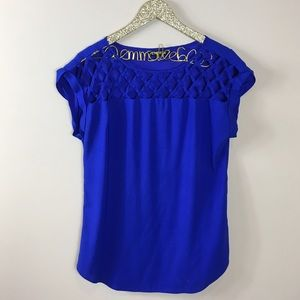 Express Royal Blue Lattice Cutout Blouse