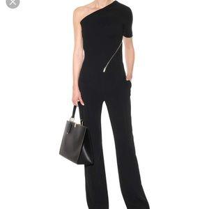 One shoulder zip  front black jumpsuit