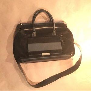 MAJE blk suede& leather BAG w/detachable Clutch