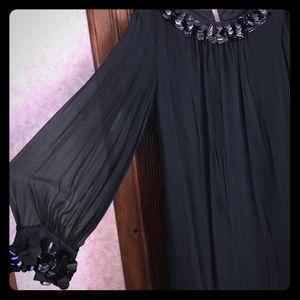 Vintage A-line short black party dress size Small
