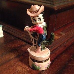 Cute Betty Boop Cowboy figurine box