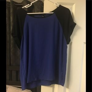 Colorblocked blue/black silky blouse