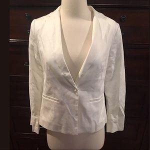Ann Taylor Loft Petites 100% White Cotton Blazer
