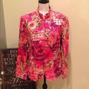 Coldwater Creek Floral Zip-Up Jacket Size XL EUC