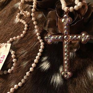 Rose Gold handmade Pink Panache cross necklace