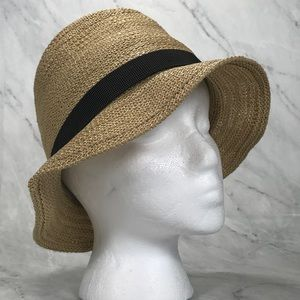 Grevi Tan Straw Hat with Ribbon and Buttons