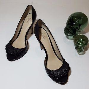 Zoe Wittner Women's Leather Peep Toe Heels Size 9