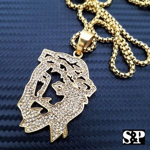 Other - Gold Stainless Steel Iced out 3D Jesus Necklace
